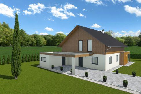Mansardna enodružinska hiša iz lesa Senta